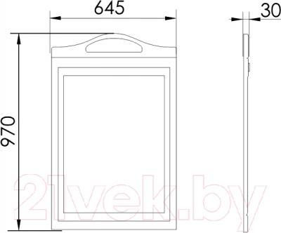 Зеркало для ванной Atoll Полини 65 (патина золото) - технический чертеж