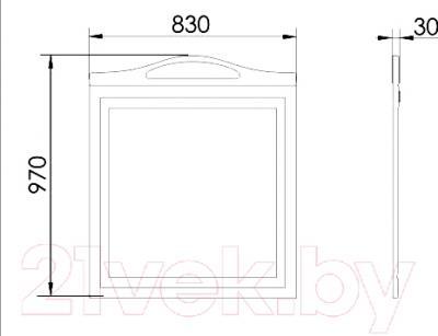 Зеркало для ванной Atoll Полини 85 (патина Луизиана) - технический чертеж