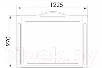 Зеркало для ванной Atoll Полини 120 (патина золото) - технический чертеж