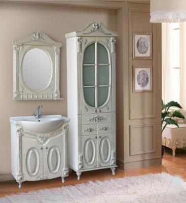 Шкаф с зеркалом для ванной Atoll Наполеон 175 (патина серебро)