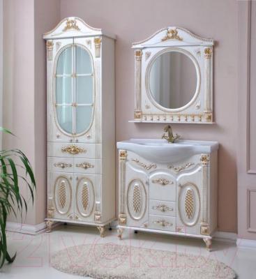Шкаф с зеркалом для ванной Atoll Наполеон 185 (патина золото)