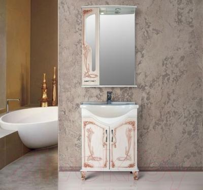 Шкаф с зеркалом для ванной Atoll Барселона 175 (патина медь) - в интерьере