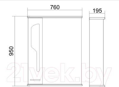 Шкаф с зеркалом для ванной Atoll Барселона 175 (белый глянец) - технический чертеж