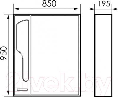 Шкаф с зеркалом для ванной Atoll Барселона 185 (патина медь) - технический чертеж