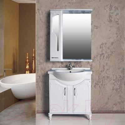 Шкаф с зеркалом для ванной Atoll Барселона 185 (белый глянец) - в интерьере