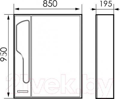 Шкаф с зеркалом для ванной Atoll Барселона 185 (белый глянец) - технический чертеж