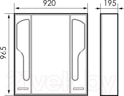 Шкаф с зеркалом для ванной Atoll Барселона 195 (патина медь) - технический чертеж