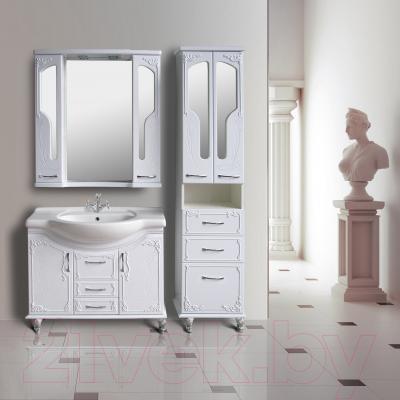Шкаф с зеркалом для ванной Atoll Барселона 195 (белый глянец) - в интерьере
