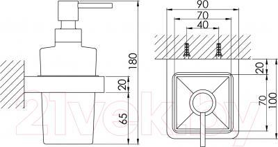 Дозатор жидкого мыла Steinberg Series 420.8001 - технический чертеж