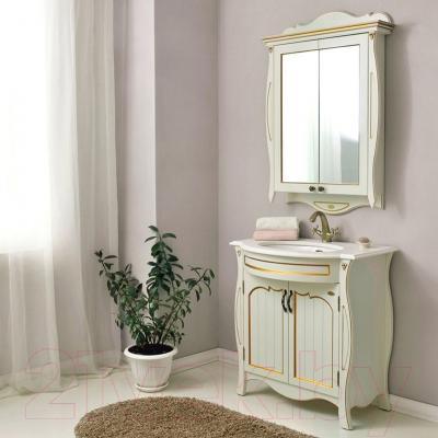Шкаф с зеркалом для ванной Atoll Ривьера (золото)