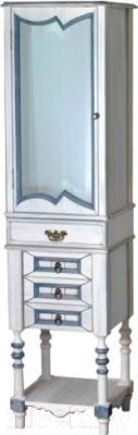 Шкаф-пенал для ванной Atoll Флоренция (синяя патина)