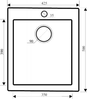 Мойка кухонная Aquasanita SIMPLEX SQS100 (силика) - габаритные размеры