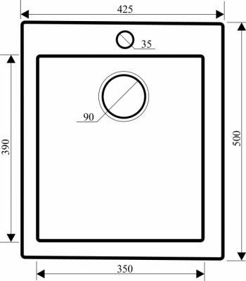 Мойка кухонная Aquasanita SIMPLEX SQS100 (черный металлик) - габаритные размеры