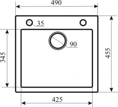 Мойка кухонная Aquasanita CUBA SQC100 (силика) - габаритные размеры