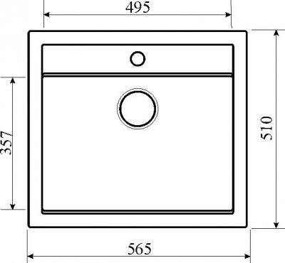 Мойка кухонная Aquasanita QUADRO SQQ100 (черный металлик) - габаритные размеры