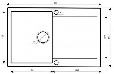 Мойка кухонная Aquasanita CUBA SQC101 (альба) - габаритные размеры