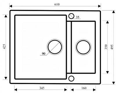 Мойка кухонная Aquasanita CUBA SQC150 (бежевый) - габаритные размеры