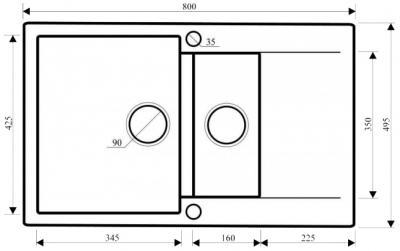 Мойка кухонная Aquasanita CUBA SQC151 (черный металлик) - габаритные размеры