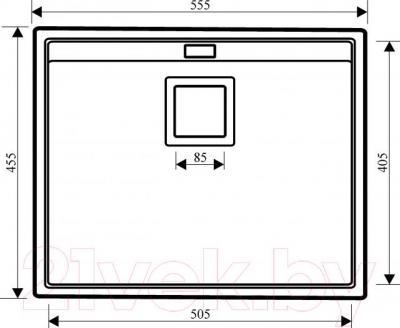 Мойка кухонная Aquasanita Delicia SQD100 (силика) - габаритные размеры