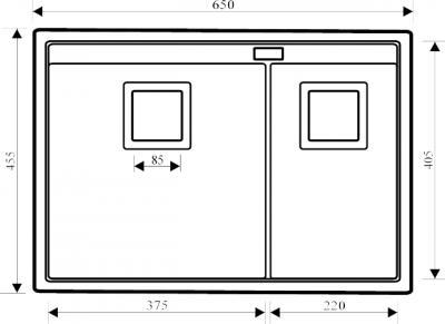 Мойка кухонная Aquasanita DELICIA SQD150 (черный металлик) - габаритные размеры