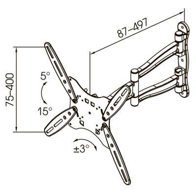 Кронштейн для телевизора Kromax Techno-5 (белый) - габаритные размеры