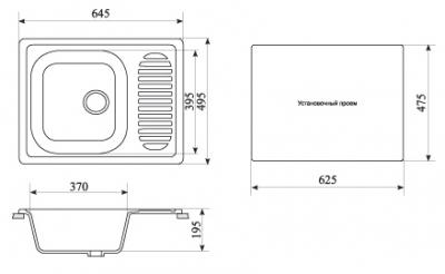 Мойка кухонная Gran-Stone GS-13 (ванильный) - габаритные размеры
