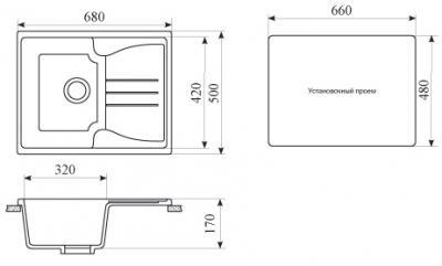 Мойка кухонная Gran-Stone GS-40 (Vanilla) - габаритные размеры