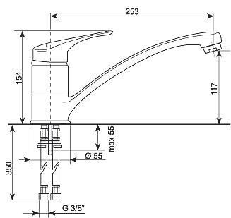 Смеситель Gran-Stone GS 4201 Gray - схема