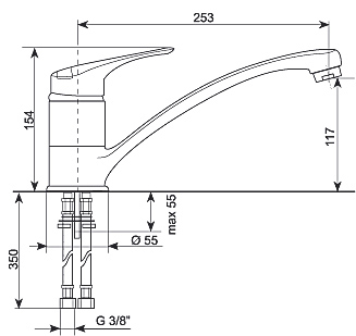 Смеситель Gran-Stone GS 4201 Beige - схема