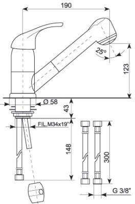 Смеситель Gran-Stone GS 6003 Beige - схема