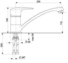 Смеситель Gran-Stone GS 4816 Gray - схема