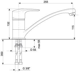 Смеситель Gran-Stone GS 4816 Beige - схема