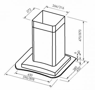 Вытяжка Т-образная Zorg Technology Венус (Omega) 1000 (60, нержавейка матовая) - схема