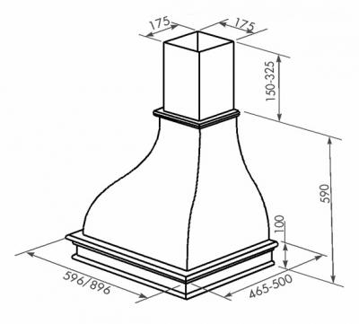 Вытяжка купольная Zorg Technology Соло (Solo) 1000 (60, дерево) - схема