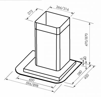 Вытяжка Т-образная Zorg Technology Лазур (Alfa) 1000 (60, нержавейка матовая) - схема