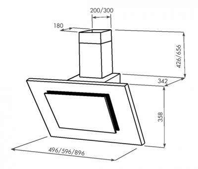 Вытяжка декоративная Zorg Technology Вертикал C (Titan) 750 (60, черный) - схема