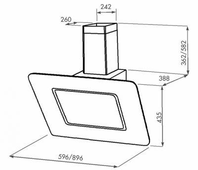 Вытяжка декоративная Zorg Technology Венера (Venera) 1000 (90, Black) - схема