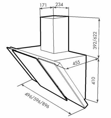 Вытяжка декоративная Zorg Technology Vesta 750 (60, нержавейка матовая/белый) - схема