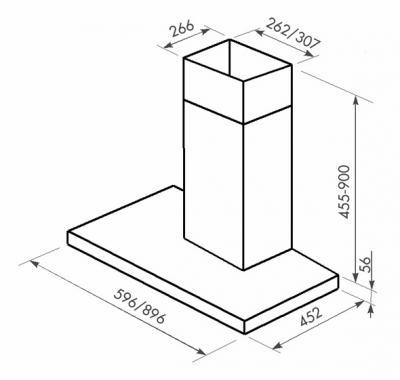 Вытяжка Т-образная Zorg Technology MT (Eco) 750 (90, Matt Stainless Steel) - схема