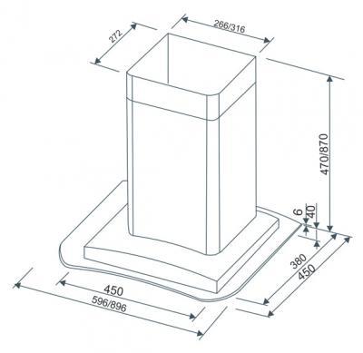 Вытяжка купольная Zorg Technology GR (Eco) 650 (90, Matt Stainless Steel) - схема