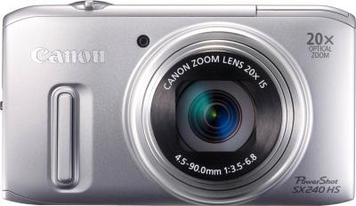 Компактный фотоаппарат Canon PowerShot SX240 HS Silver - вид спереди