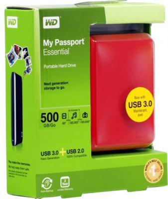 Внешний жесткий диск Western Digital My Passport Essential 500 Gb (WDBADB5000ARD) - в коробке