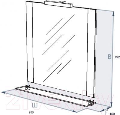 Зеркало для ванной Triton Ника 90 (004.42.0900.001.01.01 U) - технический чертеж
