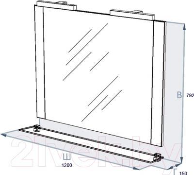 Зеркало для ванной Triton Ника 120 (вишневый) - технический чертеж