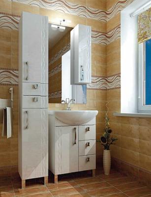 Шкаф с зеркалом для ванной Triton Кристи 60 (удлиненный правый) - в интерьере
