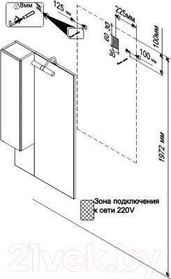 Шкаф с зеркалом для ванной Triton Кристи 60 (удлиненный правый) - технический чертеж