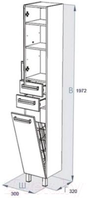 Шкаф-пенал для ванной Triton Ника 30 с корзиной (004.11.0300.201.02.01 R)