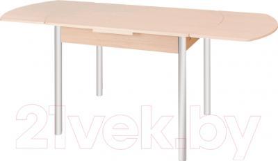 Обеденный стол Древпром М2 100х67 (металлик/дуб сонома) - в разложенном виде