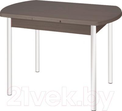 Обеденный стол Древпром М2 100x67 (антик белый/орех)