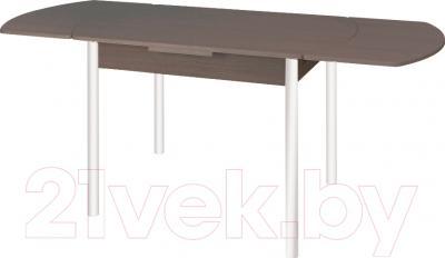 Обеденный стол Древпром М2 100x67 (антик белый/орех) - в разложенном виде